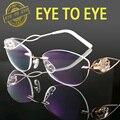Роскошные женщина очки кадр титана flex crystal clear очки мода марка дизайнер алмаз горный хрусталь высокого качества 1707