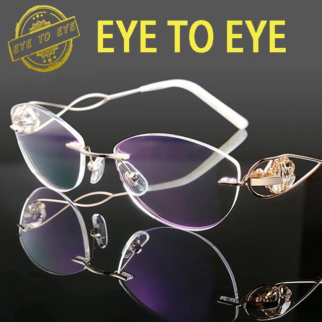 Mulher de luxo marca de moda designer de óculos de armação de óculos de titânio flexível crystal clear diamante rhinestone alta qualidade 1707