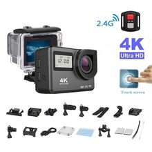 "4K Action Camera 2.0""Touch Screen WIFI Dual Screen 12MP Helmet Camera 30m DV 170 Degree Wide Angle Lens Sport Cam(China)"