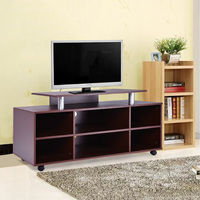 Giantex Wheeled Tv Stand Entertainment Center Media Console Storage Cabinet Modern Living Room Wood Furniture HW52192