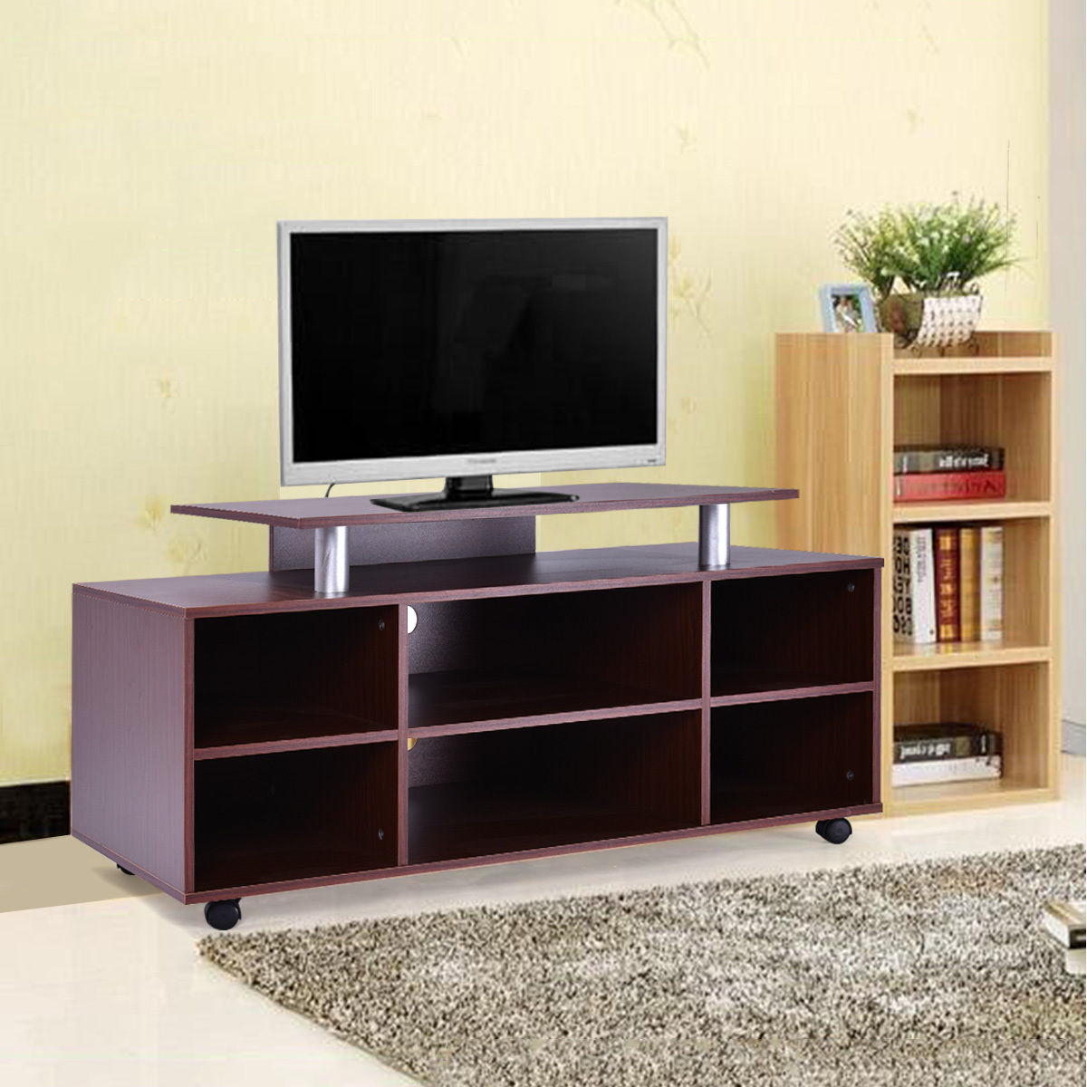 Giantex Wheeled Tv Stand Entertainment Center Media Console Storage Cabinet Modern Living Room Wood Furniture HW52192 giantex modern tv stand wood media console table entertainment with metal hairpin legs tvs up to 42 home furniture hw56640