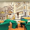 Free Shipping European Style Architectural Sketch Street Corner Seamless Wall Cafe Restaurant Background Wallpaper Tea Shop