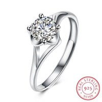 SH R0080 100 Real 925 Sterling Silver Jewelry Rings For Women AAA Zircon Adjustable Ring Luxurious