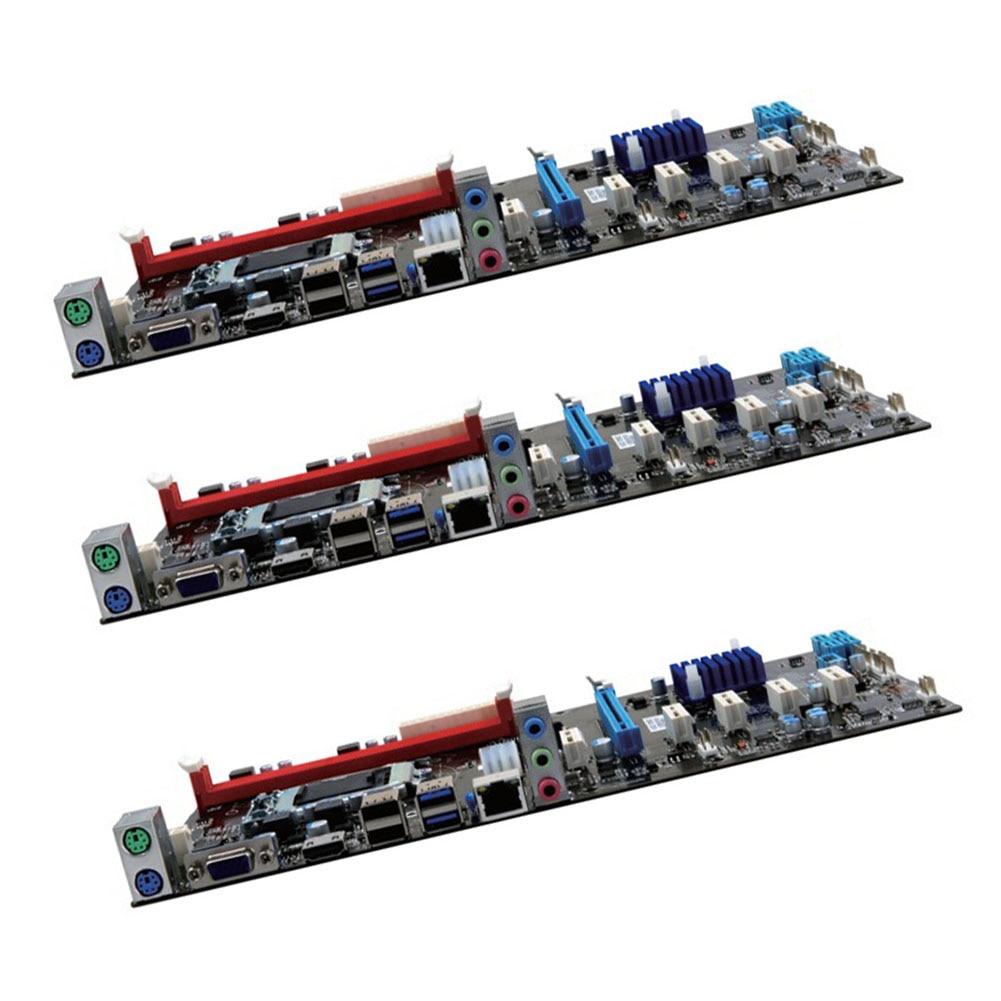 Mining Motherboard 6 GPU H81 PCI E Extender Riser Card For BTC Eth Rig Ethereum Power