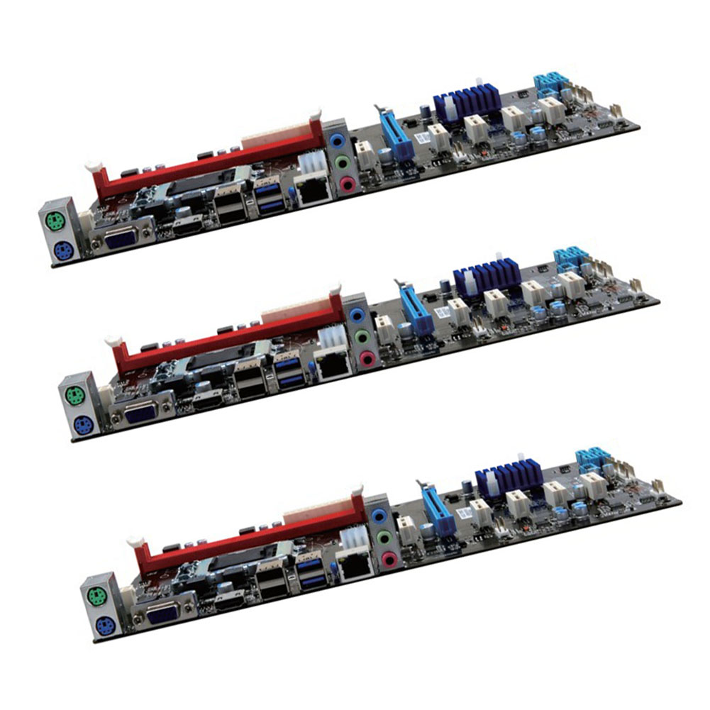 Mining Motherboard 6 GPU H81 PCI E Extender Riser Card For BTC Eth Rig Ethereum Power
