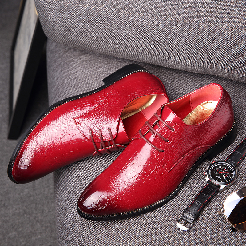 ФОТО Men's casual shoes 2016 Collectibles new menswear business shoes crocodile breathable lace shoes men