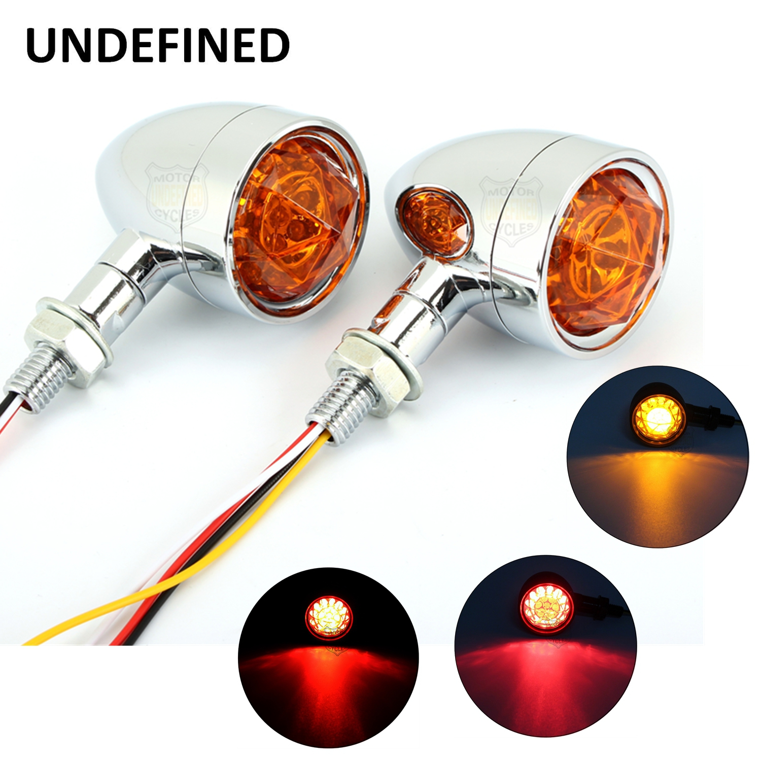 Chrome Motorcycle Turn Signal Bullet Lights Amber Diamond Lens LED Brake Indicator Light Lamp For Harley Bobber Bikes Universal