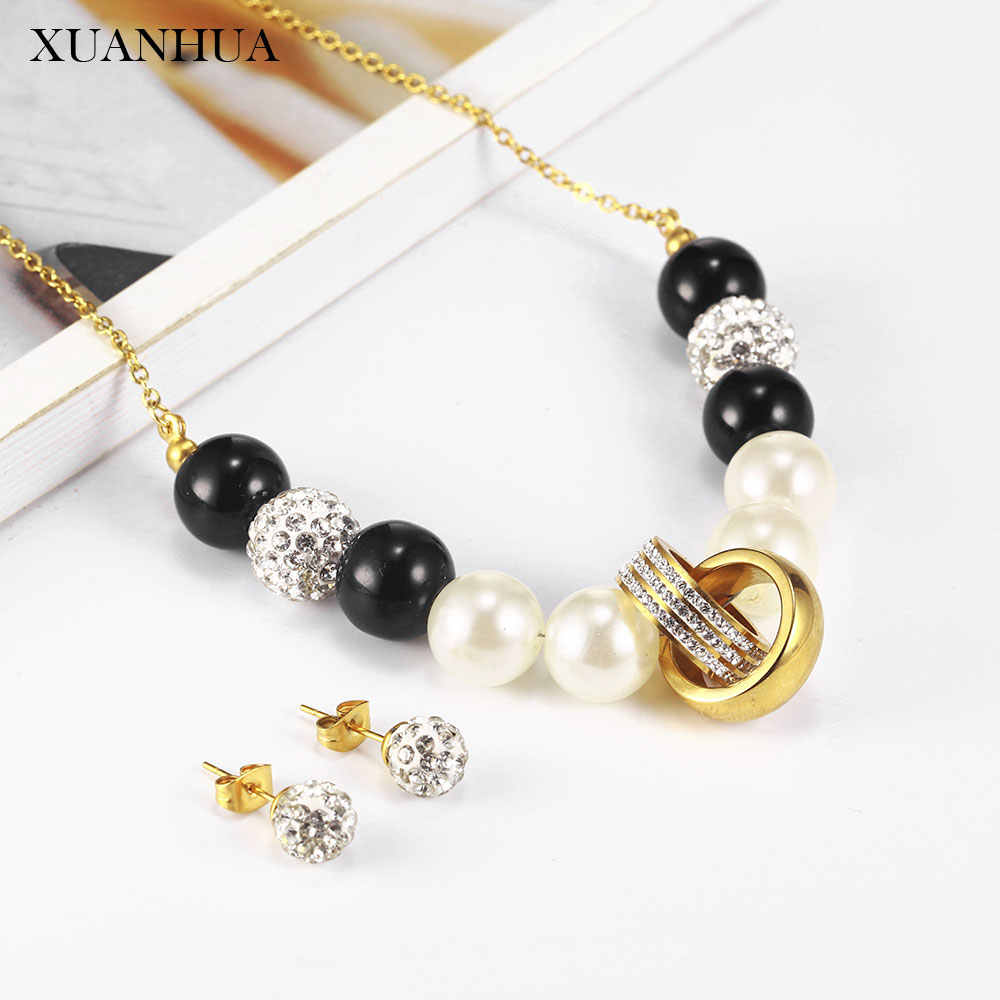 XUANHUA Bead Pearl Necklace Earrings Set Jewelry Sets Stainless Steel Jewelry Woman Vogue 2019 Jewelry Accessories