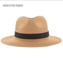 Vintage Panama Hat Men Straw Fedora Male Sunhat Women Summer Beach Sun Visor Cap Chapeau Cool Jazz Trilby Cap Sombrero