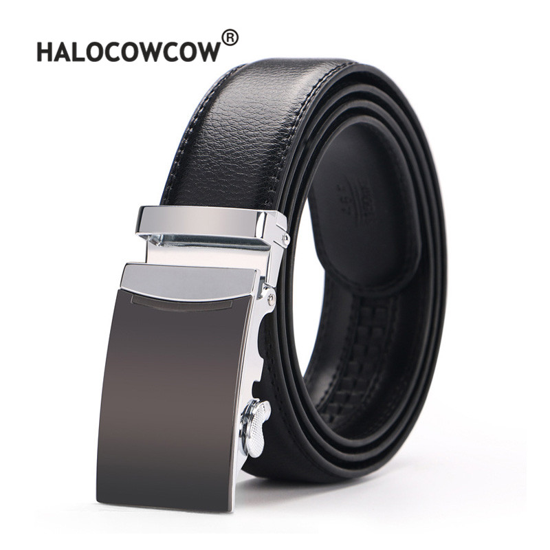 Men's Genuine Leather   Belt   Brown Automatic Buckle Plus Size Waist Strap Business Male Cintos High Quality 110 - 140 150 160 cm