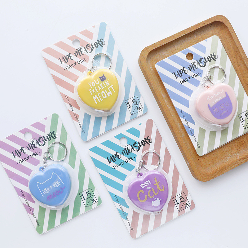 Coloffice Kawaii Cat Heart Shape Tape Measure Measurement Height Portable Ruler Mini Tape Candy Color School Stationery Ruler