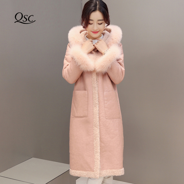 b7c28244764 Women Winter Jacket 2018 Autumn Winte Solid Coat With Natural Fox Fur Cuffs  Slim Thick Women Coats With Hooded Jacket