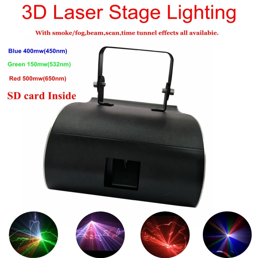 New Led Rgb Home Stage Lighting Effect DMX512 3 Color Laser Projector With SD Card Disco Lights Dj Party Stage Light