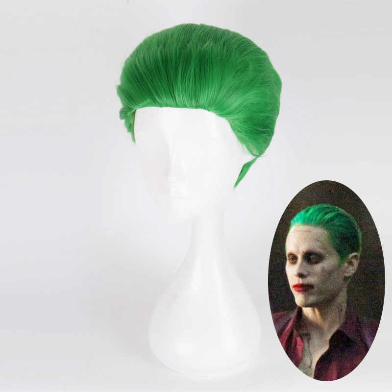 Suicide Squad The Joker Wig Green Short Heat Resistant Synthetic Hiair Cosplay Wigs + Wig Cap