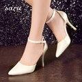 Nuevas mujeres de la moda sexy zapatos de tacón alto de color rosa zapatos de baile en punta bombas del dedo del pie zapatos de noche azul blanco mujeres desnudo bombea los estiletes 2017