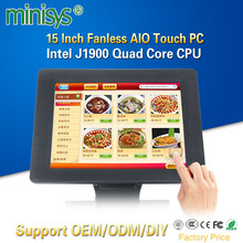 Minisys 15 Inch Taiwan Fanless 5 Wire Resistive Touch Screen AIO Computer Intel