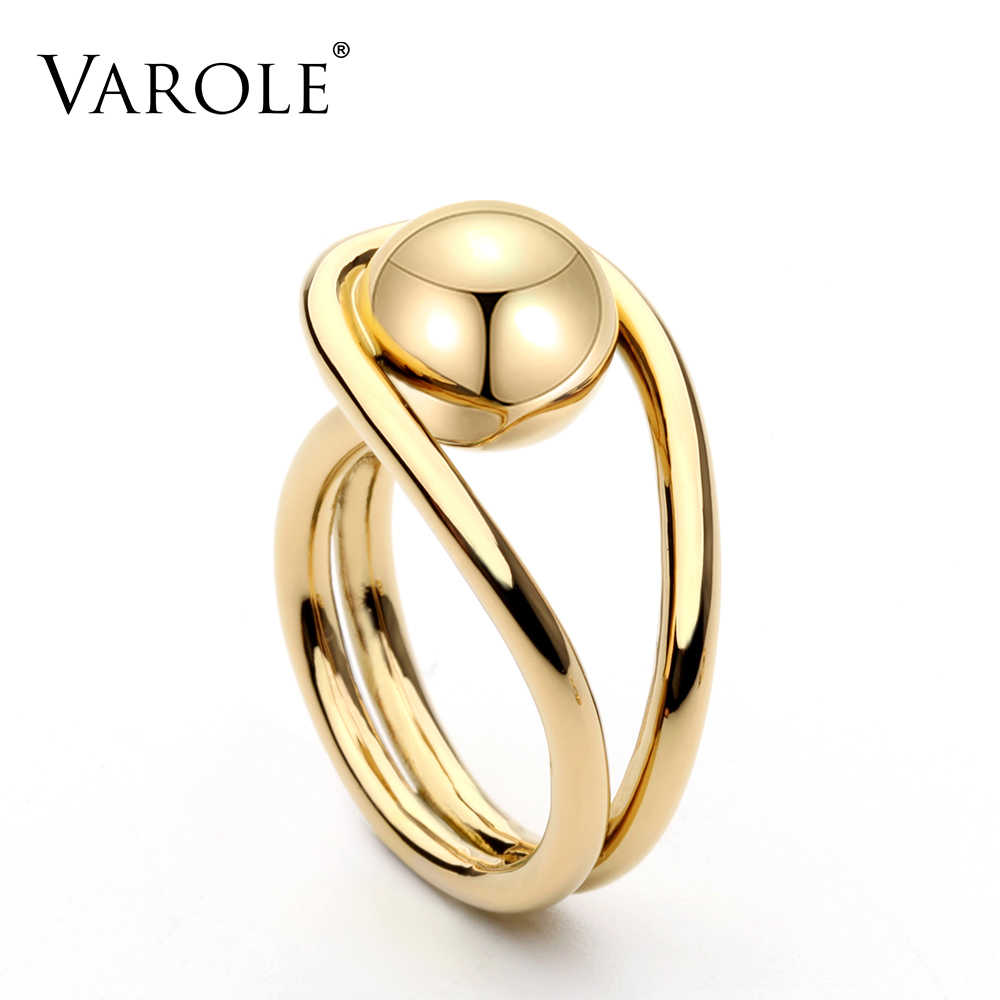 VAROLE New Arrival luxury Ball Rings for Women Gold Silver Color Rings Copper Best Christmas Present free shipping
