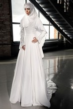 MZYW0209 full long sleeve high neck lace applique with hijab vestido novia long sleeve muslim wedding dress