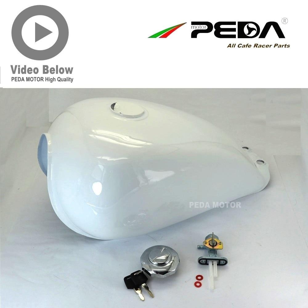 ᐅ7FS PEDA Cafe Racer motocicleta tanque 9L GN blanco Vintage ...