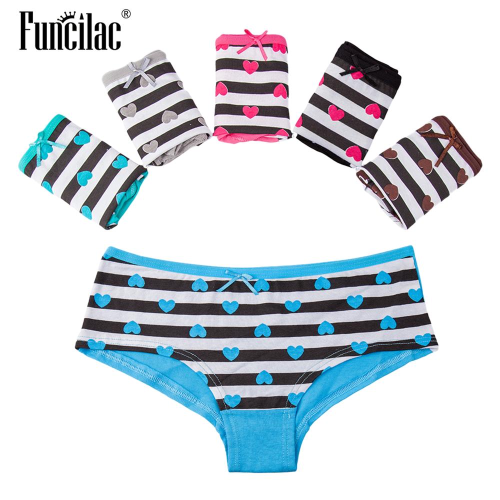 FUNCILAC Women's Panties Cotton Striped Briefs Women Girls Bow Shorts Intimate Underpants Lingerie Female Underwear 5cs/set