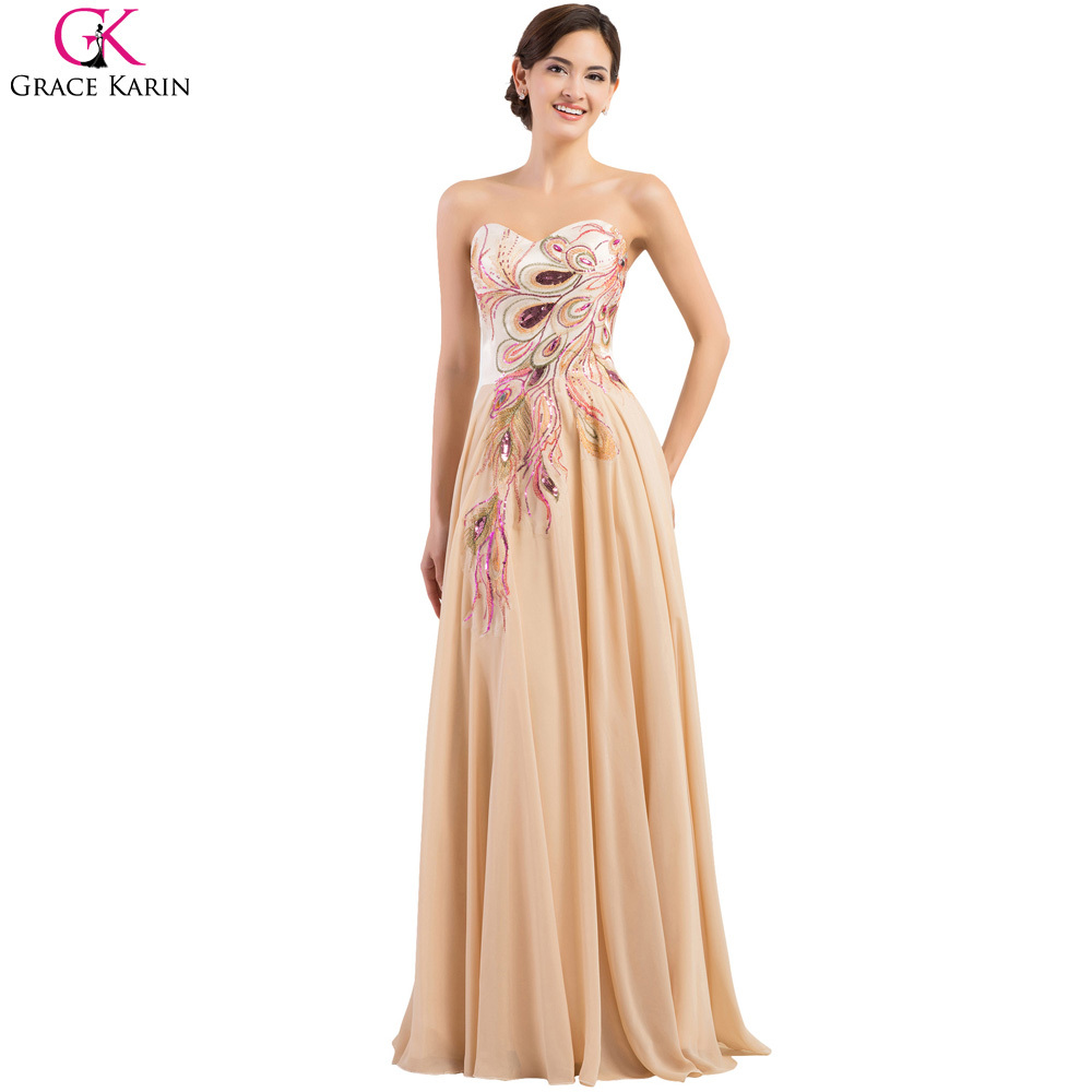 Peacock bridesmaid dresses grace karin dresses 2017 plus for Plus size wedding party dresses