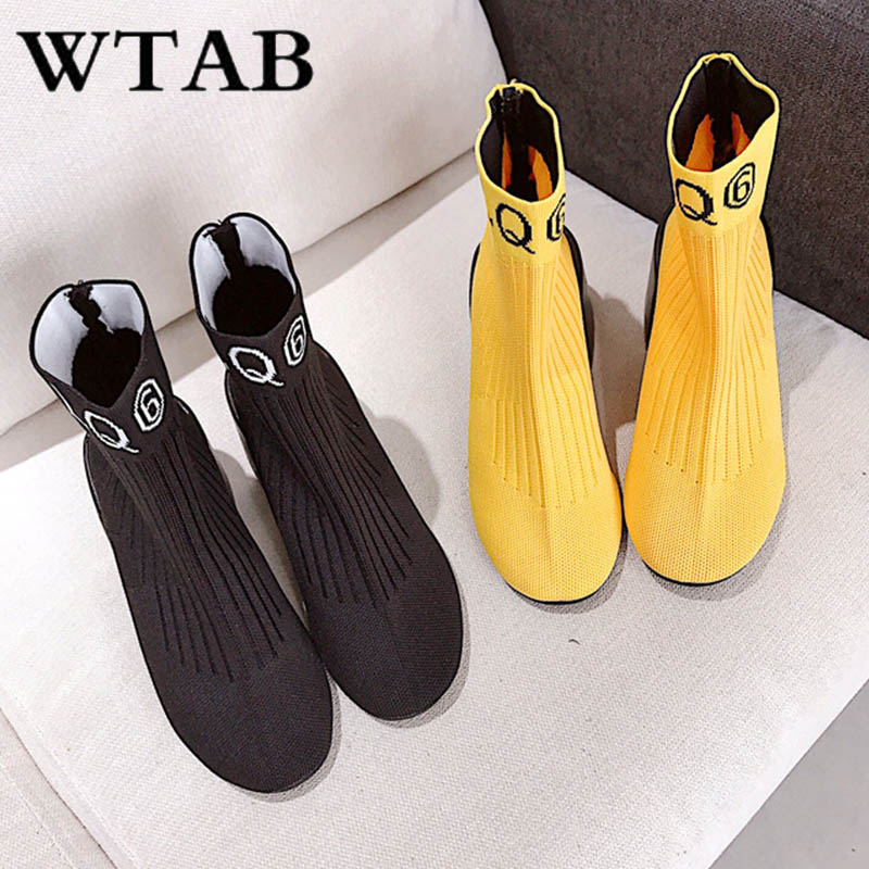 Cheville De Slip on Chaussures Carré jaune Hiver Automne Wtab Noir Femmes Bottes Nouveau 2018 Laine Talon Tricot Mujer Botas Base Boot YPZnZv6z
