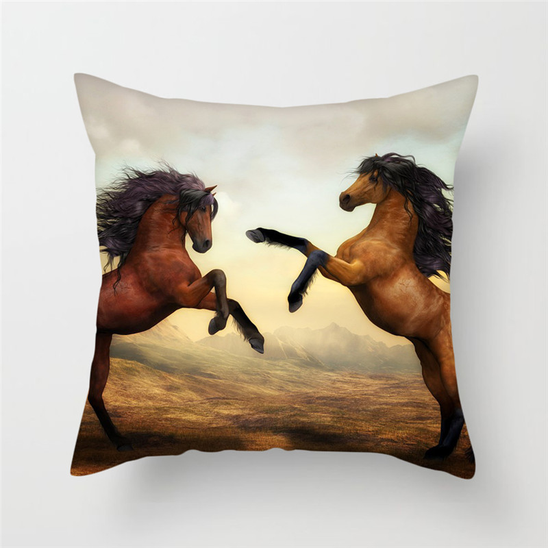 Fuwatacchi Wild Horses Cushion Cover Strong Horse Throw Pillow Covers For Sofa Home Animal Style Decor Pillowcases in Cushion Cover from Home Garden