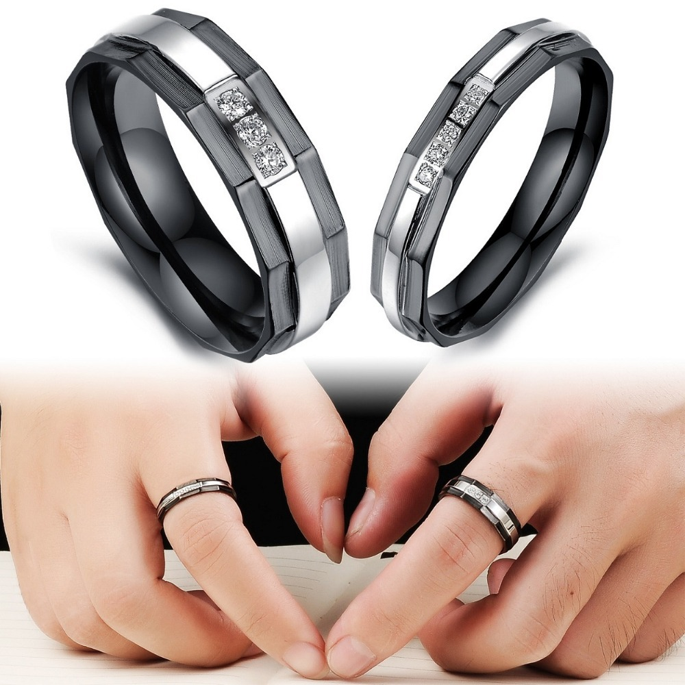 Fashion Jewelry Puzzle Heart Couple Rings CZ Diamond Stainless ...