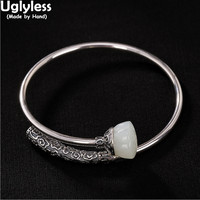 Uglyless 100% Real Solid 999 Full Silver Bangles for Women Nature Jade Lotus Open Bangle Thai Silver Lapis Bracelet Fine Jewelry