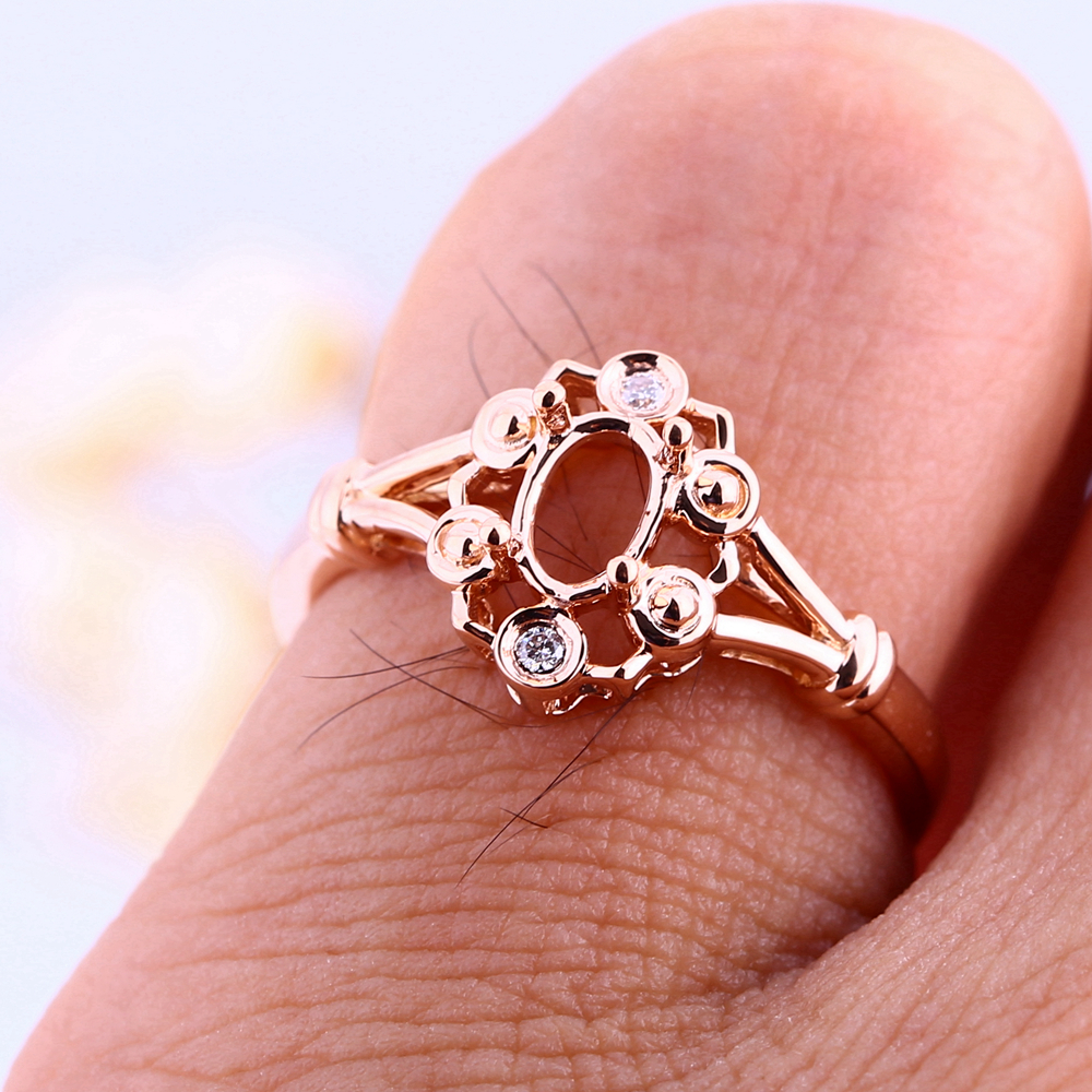 Solid 14k Rose Gold Engagement Fine Women Wedding Ring 4x6mm Oval ...