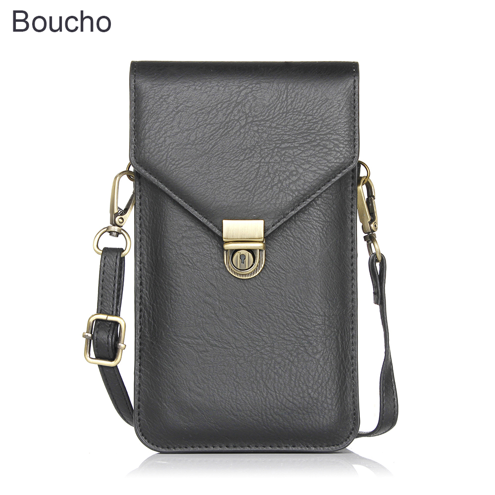Boucho Vintage Rhino Pattern Leather Cell Phone Bag Wallet Luxury Double-deck Neck Strap Shoulder Bag For IPhone Samsung Huawei