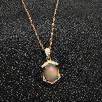 Ethopian Opal Pendant with Silver Chain 3