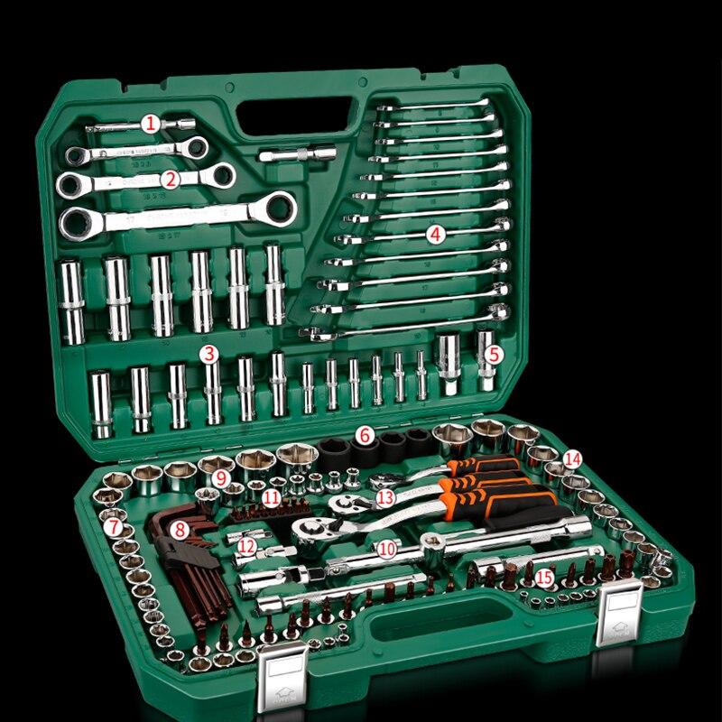 Herramientas de reparación de coches Juego de Herramientas mecánicas 121 piezas 150 Uds herramientas de llave de enchufe para Auto Llave de trinquete destornillador Juego de llaves hexagonales - 3