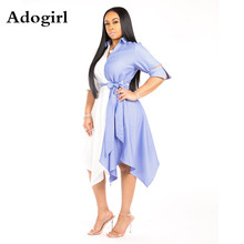 White Blue Pinstripe Patchwork Irregular Shirt Dress Summer Turn-down Collar Half Sleeve Front Tie Hem Big Swing Office Dress white stripe shirt with irregular hem