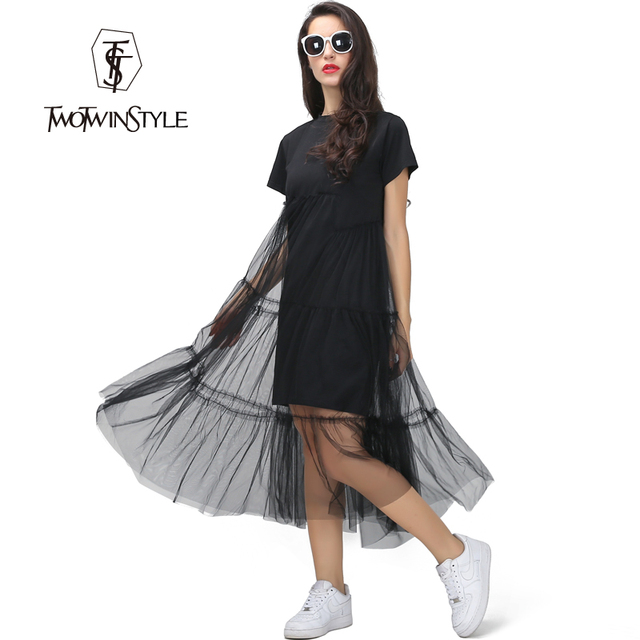 [TWOTWINSTYLE] 2016 Summer loose straight short-sleeved dress women round neck empire waist layer mesh sweet