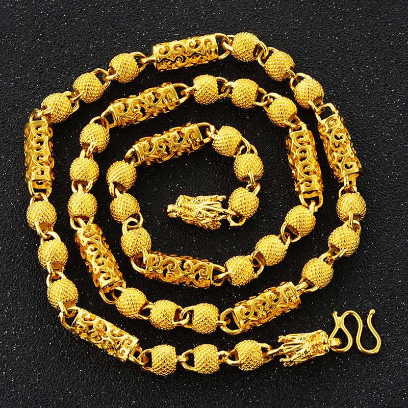 цены Necklace Choker/Long necklace chain Vintage punk wealthy lucky 24K Gold Color Chinese Chain Hip Hop Chain Gifts For Men Jewelry