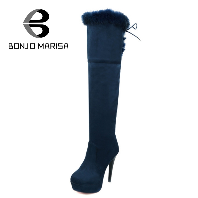 ФОТО BONJOMARISA Sexy Thigh High Boots For Women With Rabbit Fur High Thin Heels Winter Shoes Woman Flock Platform Long Riding Boots