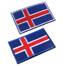 Embroidered Iceland Flag Patches Army Hook & Loop Patch 3D Tactical Military Fabric Armband National Badge