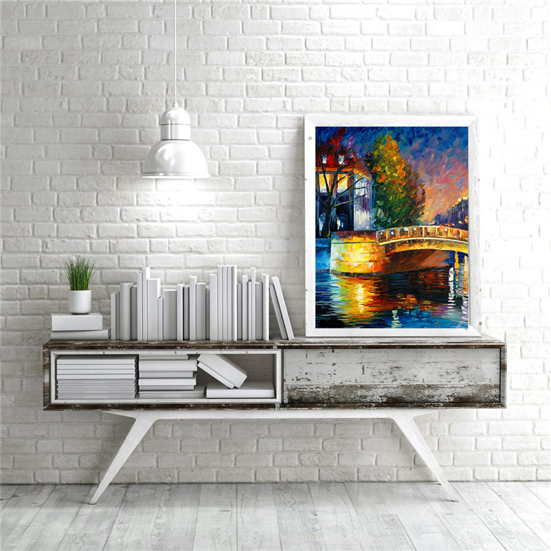 Wall art abstract oil painting canvas poster about town stone bridge night scene modern picture living room home decor MB2-035