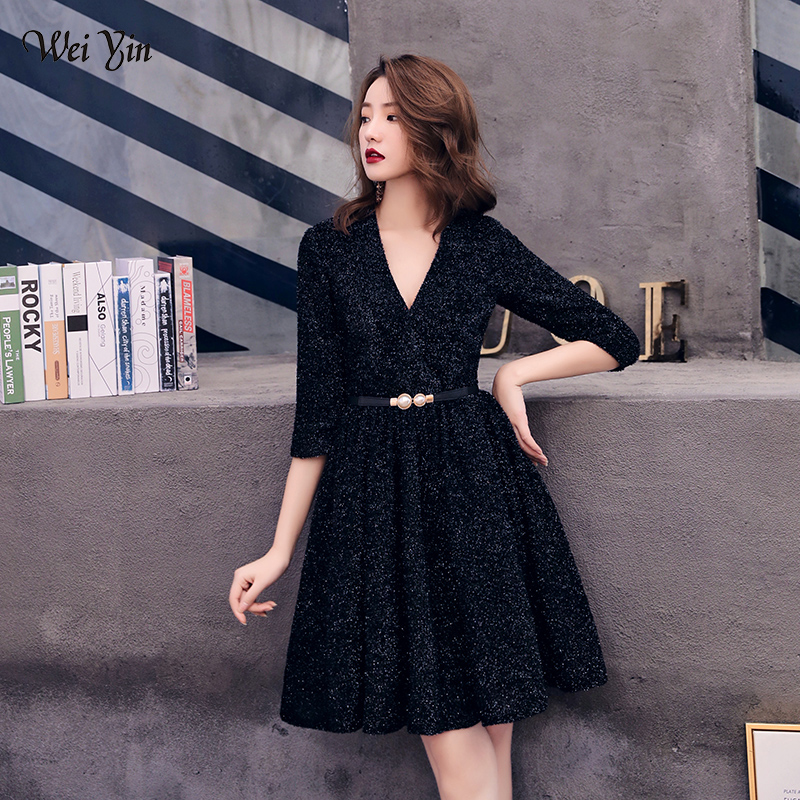 wei yin 2019 Short Formal   Dresses   Sexy V Neck Half Sleeve Black   Cocktail     Dress   Short   Dress   Prom Party Gowns WY1617