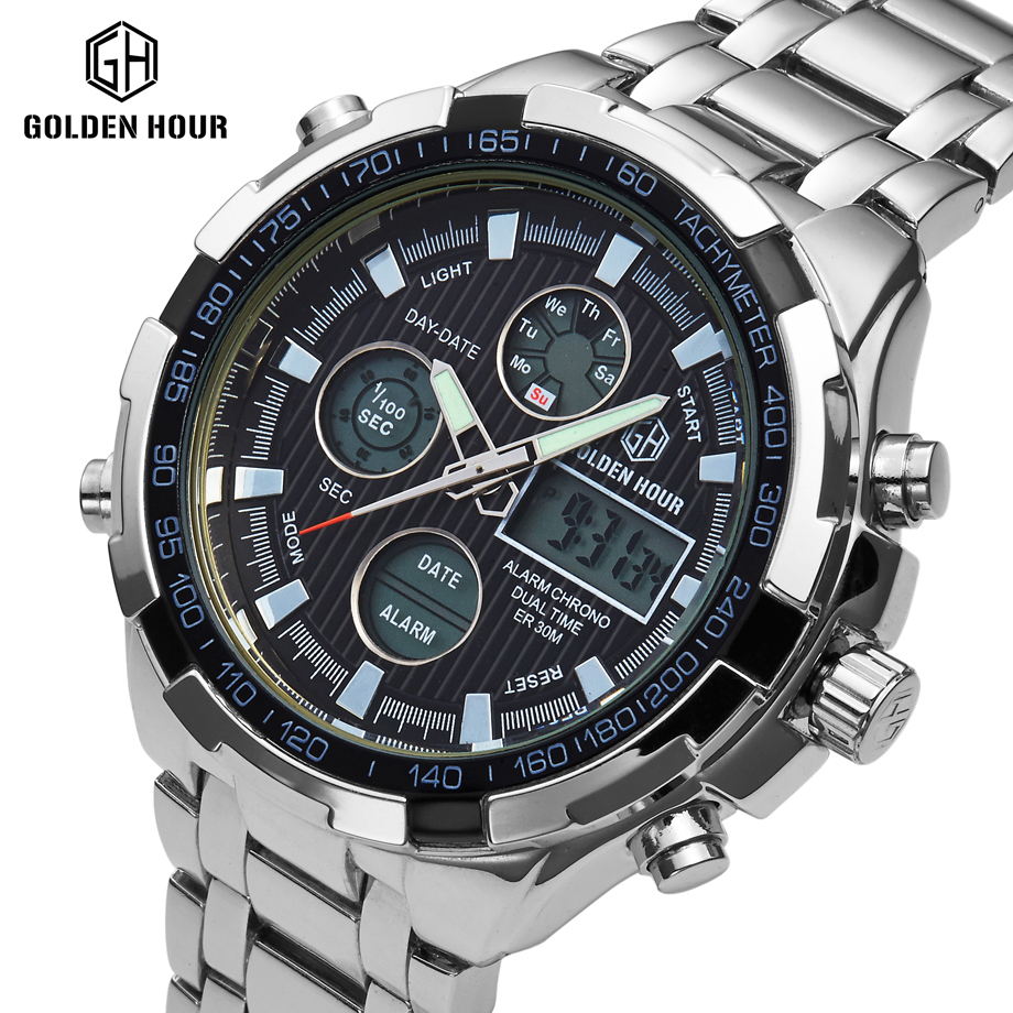 GOLDENHOUR Luxury Brand Men Sports Army Military Watches Men's Quartz Analog LED Clock Male Swimming Watch relogio masculino weide new men quartz casual watch army military sports watch waterproof back light men watches alarm clock multiple time zone