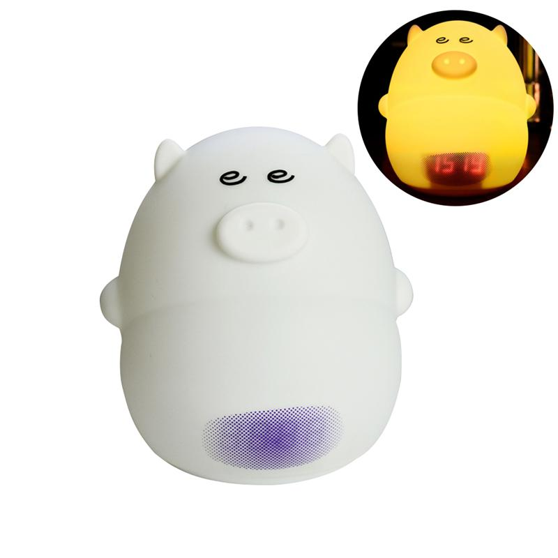 Cute Pig Shaped LED Alarm Clock Night Light USB Rechargeable RGB Colors Changing Portable For Children Bedroom Beside heart shaped rgb led night light 3 ag13