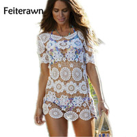 Feiterawn 2017 Women Summer Lace Short Sleeve O Neck Hollow Out Embroidery Beach Cover Up White