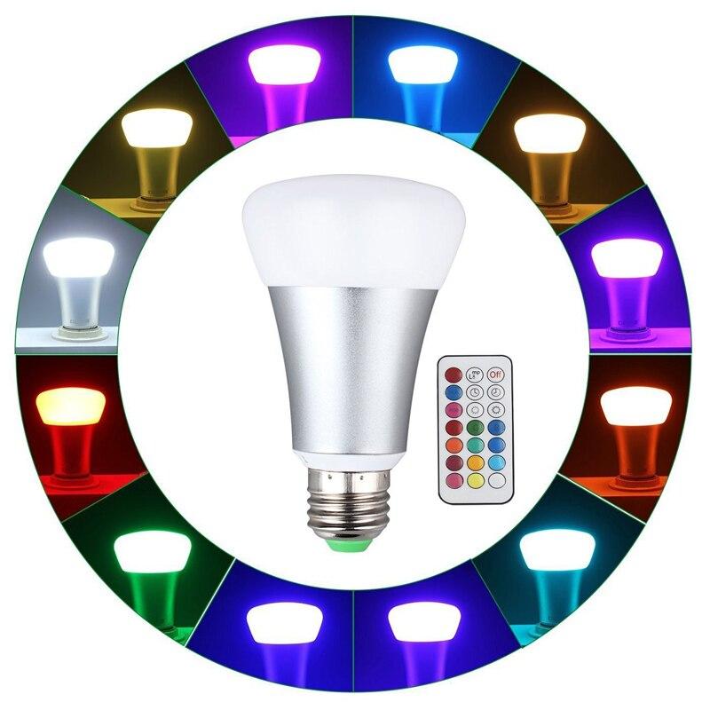 E27 Led Lamp 10w RGB Led Bulb AC 85-265VWith Remote Control Energy Dimmable Saving Lighting RGBW szyoumy rgbw led light bulb e27 6w bluetooth 4 0 control music audio energy saving smart lamp bulb rgb lighting ac100 240v