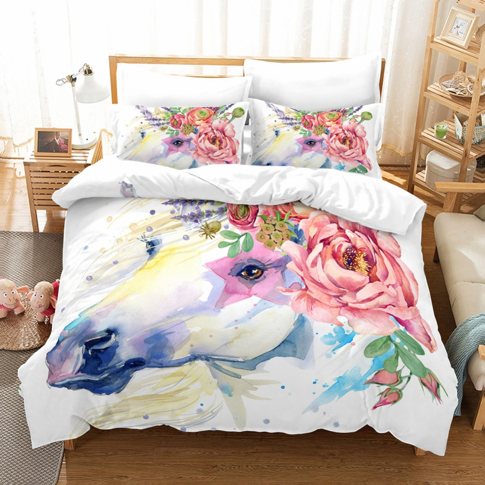 Floraison licornes graphique 3 pièces literie ensemble housse de couette taie d'oreiller hôtel qualité microfibre doux Durable lavable en Machine