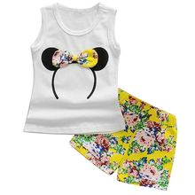 Summer Kids Baby Girls Outfits Clothes Cartoon Baby Girls Bowknot Mouse T Shirt Tank Top Floral