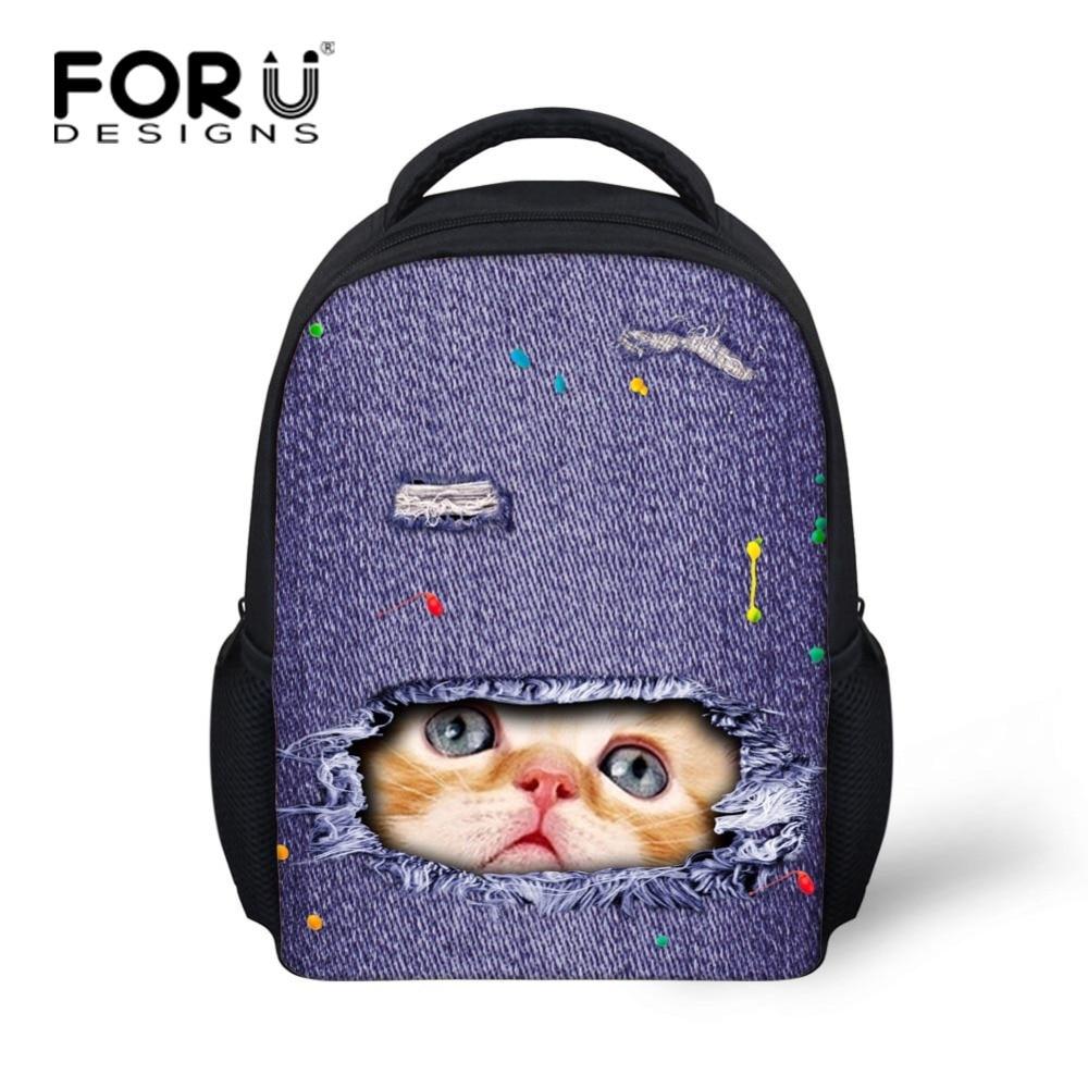 FORUDESIGNS Cute Durable Printing Denim Cat Lion Backpack for Kids Elementary Little Boys Girls School Bagpack Animal Harness