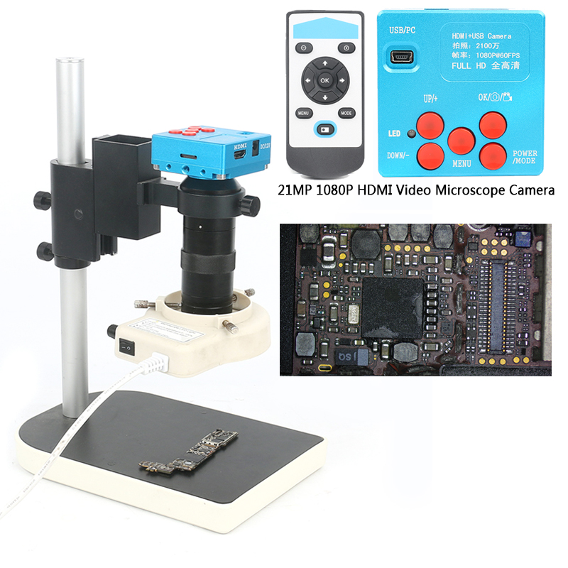 21MP 1080P 60FPS 2K TF Video Recorder HDMI Industrial Electronic Video Microscope Camera 100X C-Mount Lens For Lab PCB Soldering usb hdmi 1080p 16mp digital industrial video recorder microscope camera set 100x c mount lens 56 led light for pcb soldering