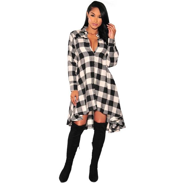 Muitas vezes 2018 inverno nova moda Feminina camisa xadrez irregular solta  WW16