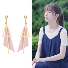 Personality Fashion Triangle Geometric Drop Earrings Retro Female Tassel Long Women Earrings Jewelry Free Shipping free shipping fashion women new jewelry wholesale wood combination geometric rectangular earrings for women